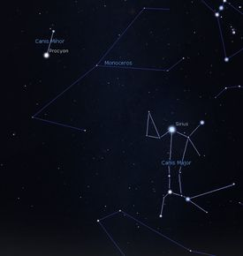 The constellation Canis Major with its companion Canis Major.
