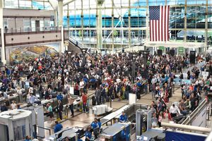 crowded TSA screening lines