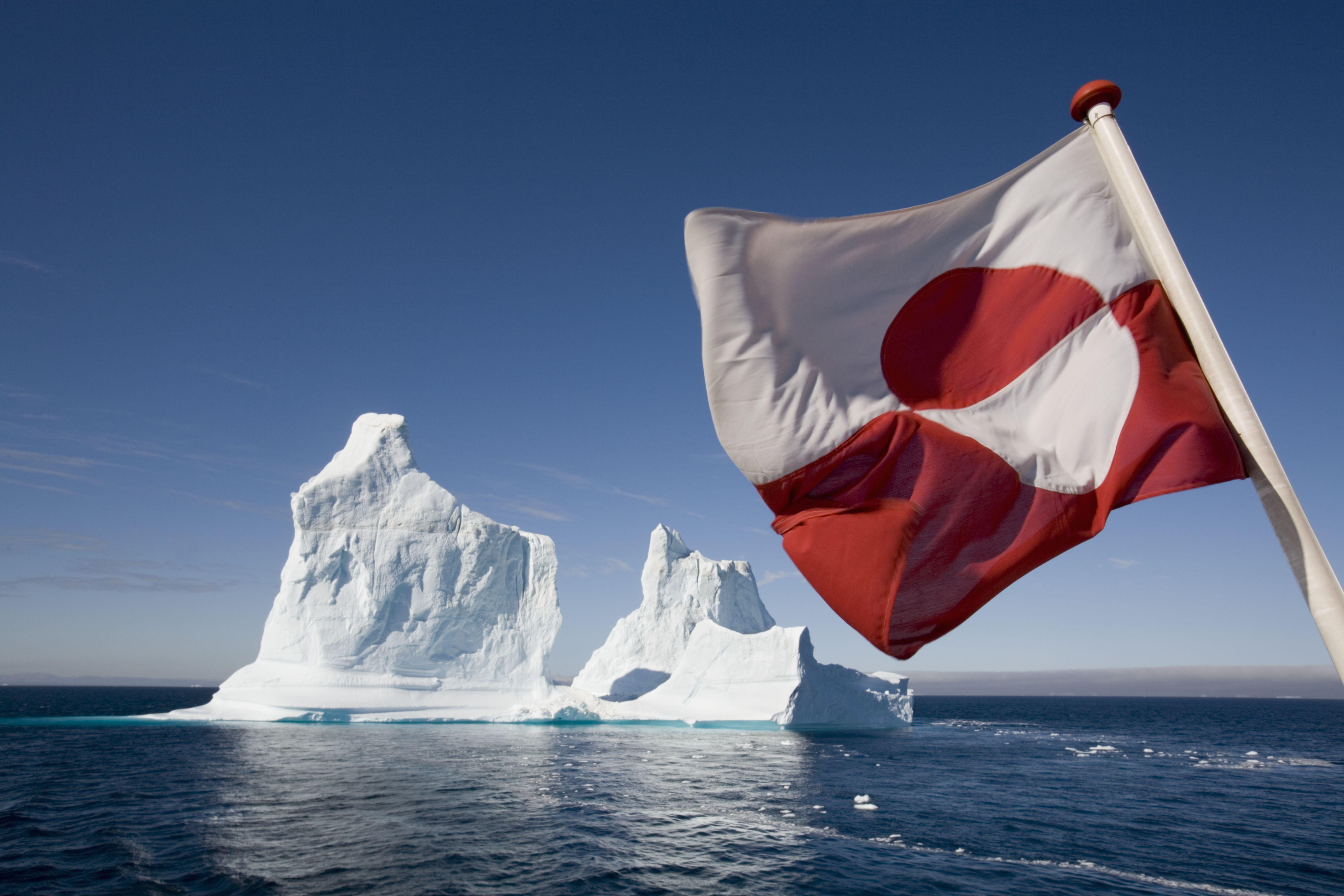 Greenland Flag on Arctic Umiaq Line Ferry