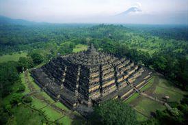 Aerial view of Borobudur Temple, Java