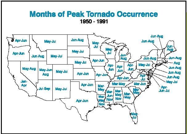 Peak Tornado Months by State