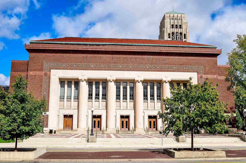 Hill Auditorium and Burton Tower at University of Michigan, Ann Arbor.