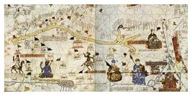 Illustrated map of caravan routes of the Sahara in 1413