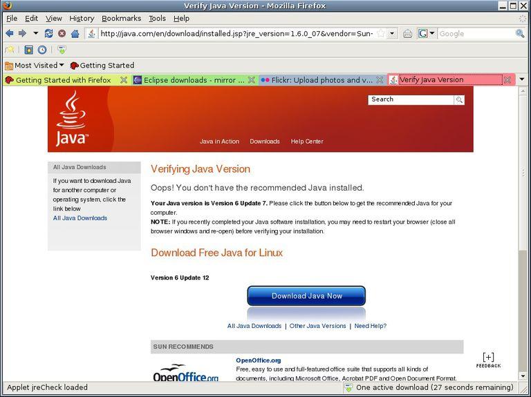 Screeshot of a Java web page.