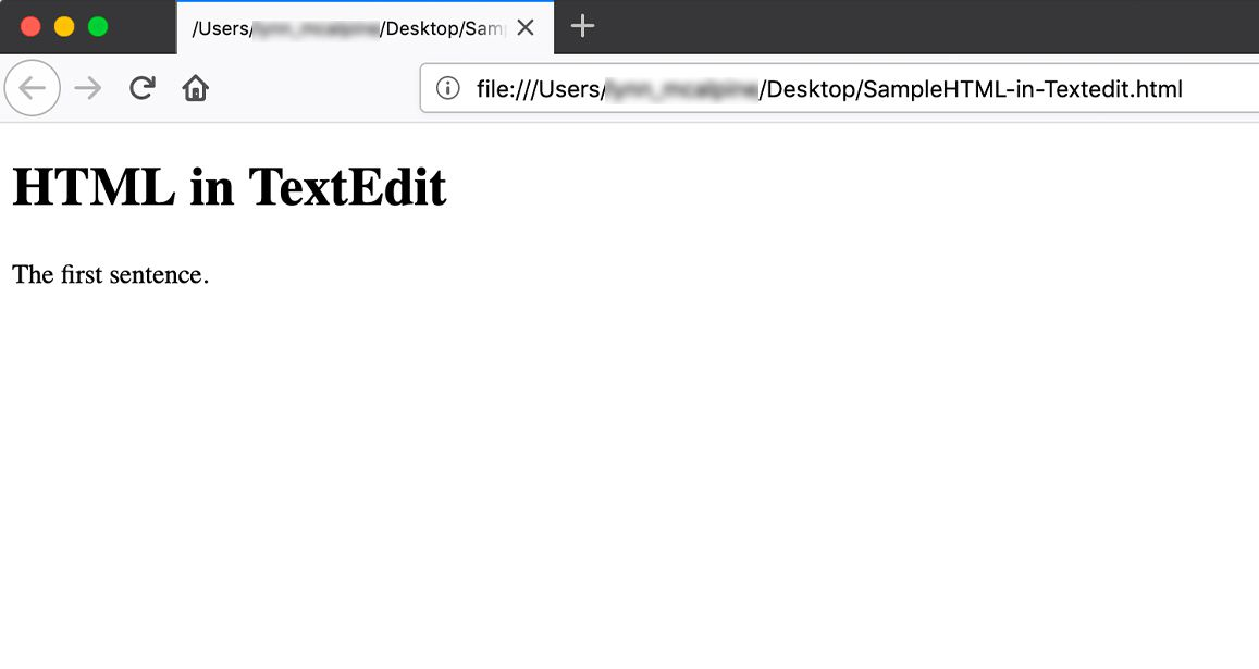 Example code in Firefox browser