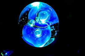 Glowing bubbles are easy to make. Either mix phosphorescent pigment with bubble solution to make them glow or add highlighter ink for fluorescent bubbles that glow in black light.