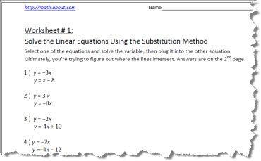 Substitution Method Worksheet 1 of 6