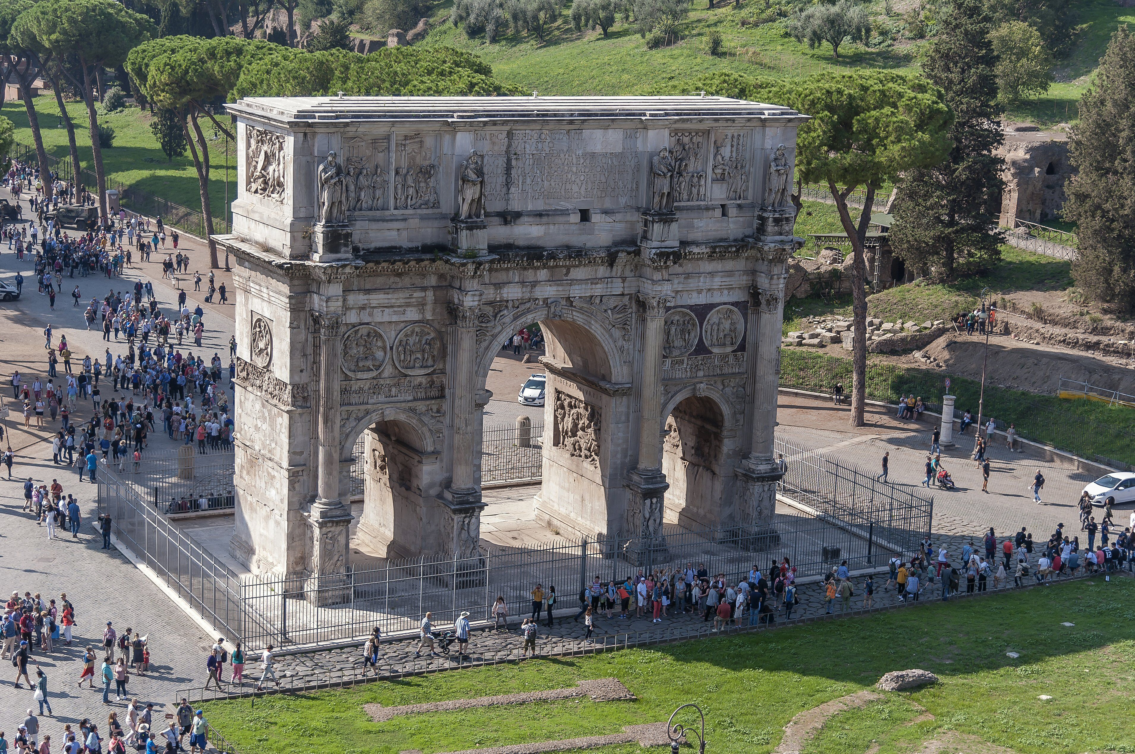 Overview taken from the top of the Colosseum shows the Arch of Constantine on October 3, 2017 in Rome, Italy.