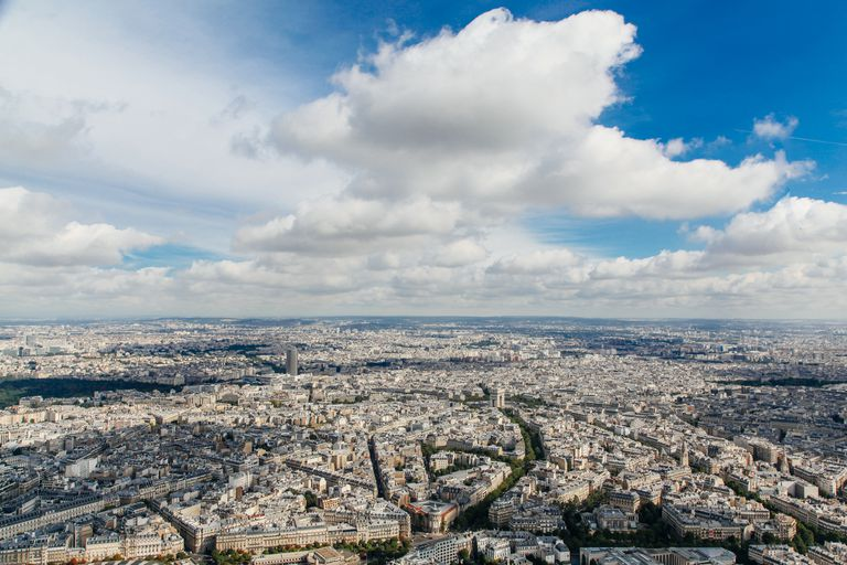 Aerial view of Paris from the top of Eiffel Tower