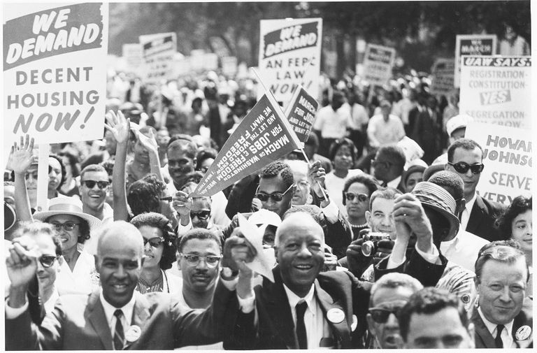 Black and white photo of the March on Washington in 1963.