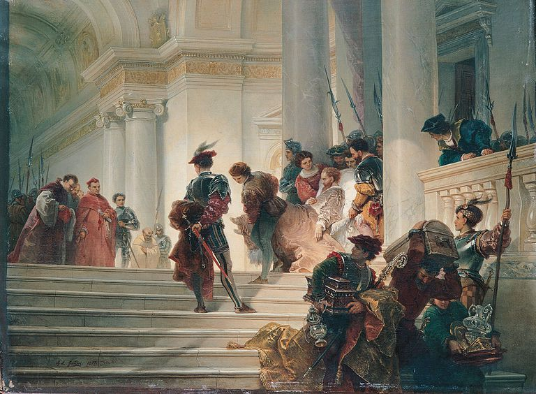 Painting of Cesare Borgia Leaving the Vatican, by Gatteri Giuseppe Lorenzo.