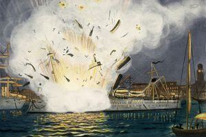 Illustration of Explosion of the USS Maine in Havana Harbor