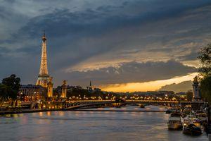 Paris, France at dusk