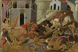 The expulsion of Tarquin and his family from Rome. Artist: Master of Marradi (Maestro di Marradi) (active 1470-1513)
