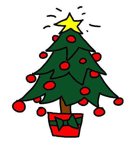 The completed christmas tree drawing for craft art or clipart