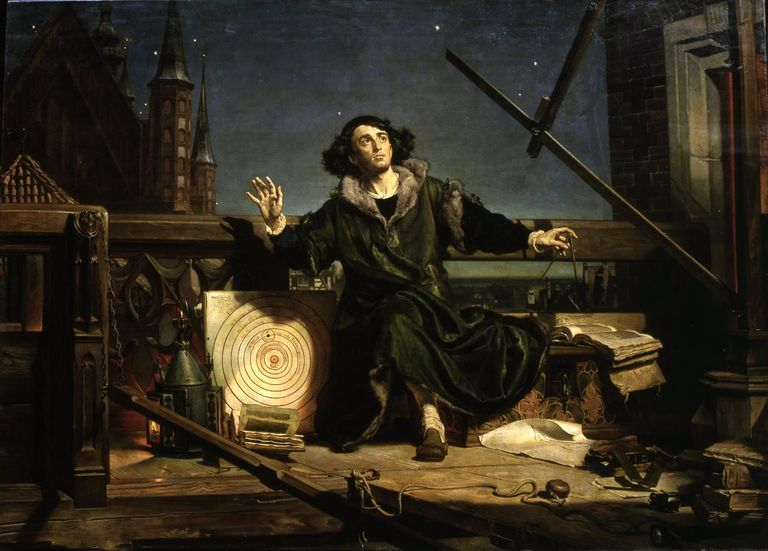 Painting depicting Copernicus looking up at the sky.