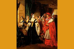 Eugene Deveria painting of Catherine of Aragon and Cardinal Wolsey among others