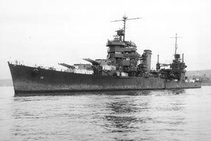 USS San Francisco, flagship of Rear Admiral Norman Scott at the Battle of Cape Esperance, October 11/12, 1942