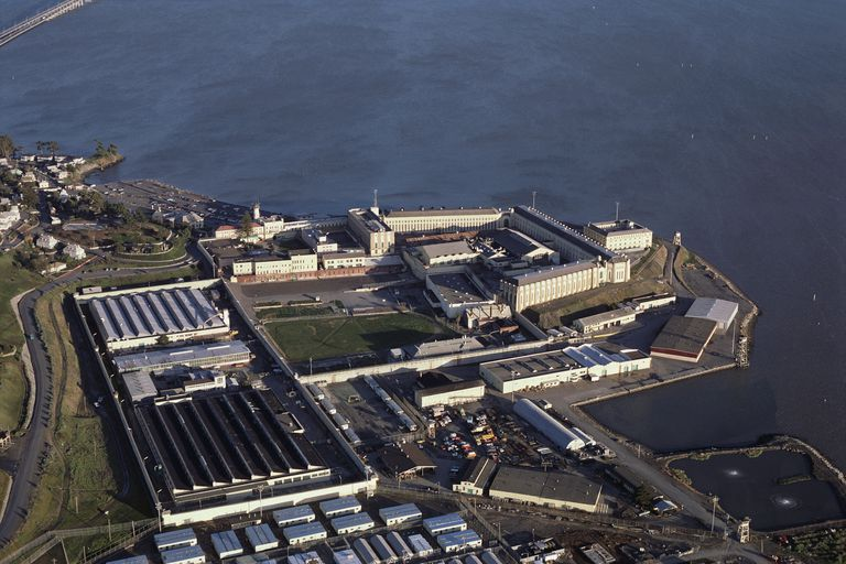 Aerial view of San Quentin State Prison on San Francisco Bay