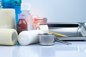 Medical supplies on a table