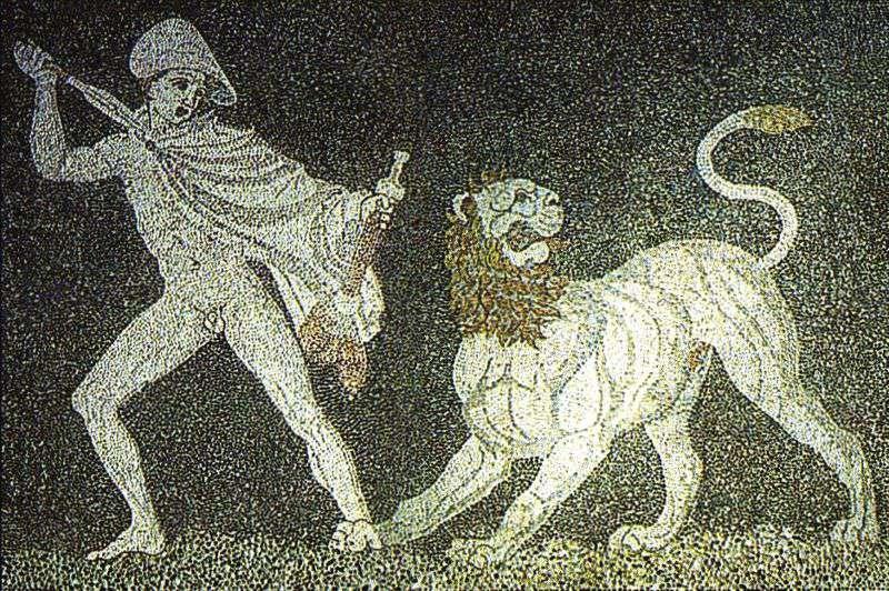 Alexander fighting a lion mosaic