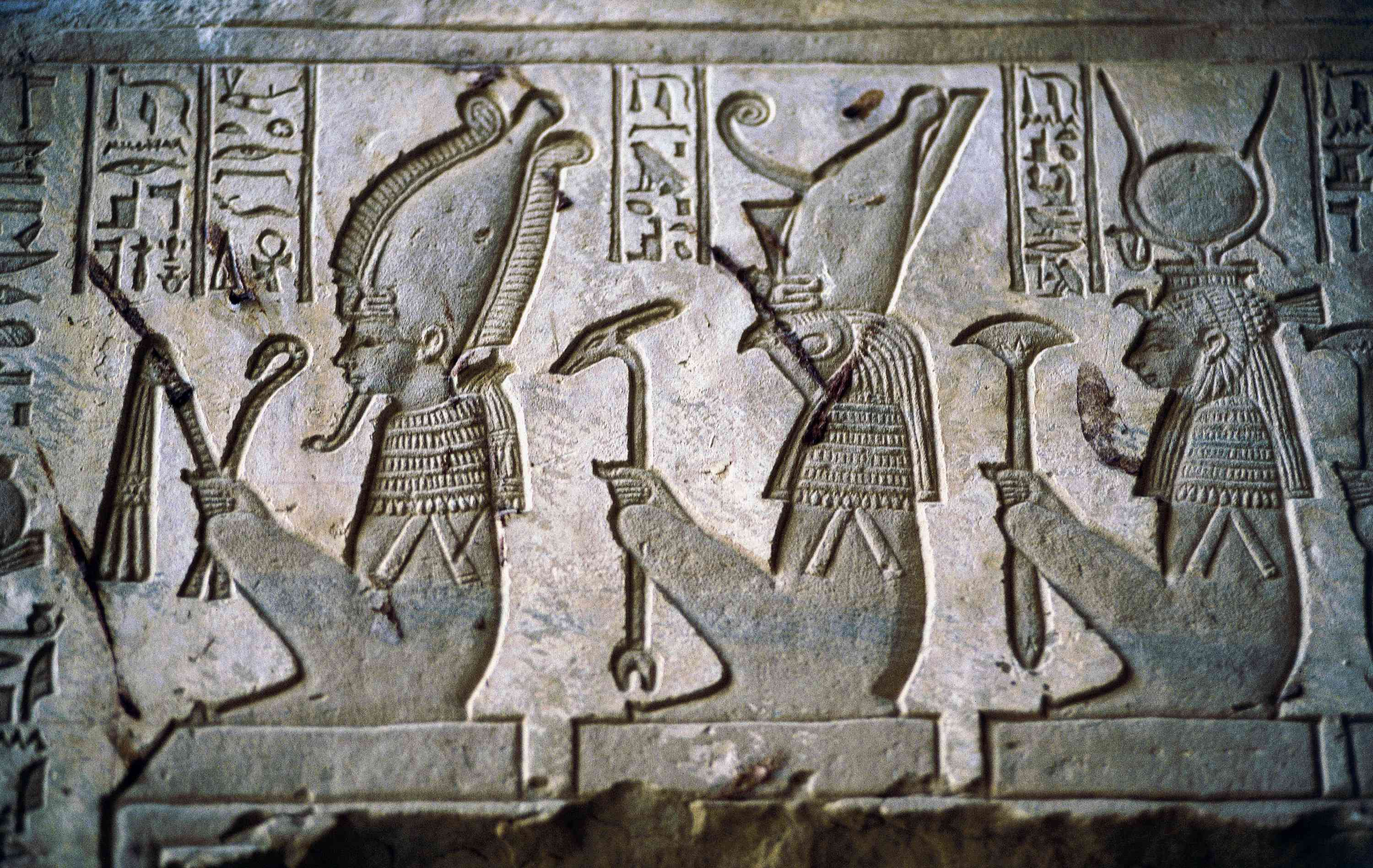 Relief of Osiris, Isis, and Horus, Late Period (644–322 BCE)