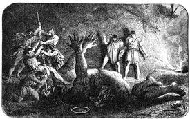 Odysseus' Men Poking out the eye of the cyclops Polyphemus