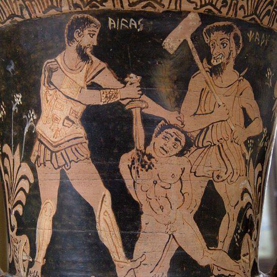 Achilles Kills Trojan Prisoner Before Charun Armed With a Hammer.