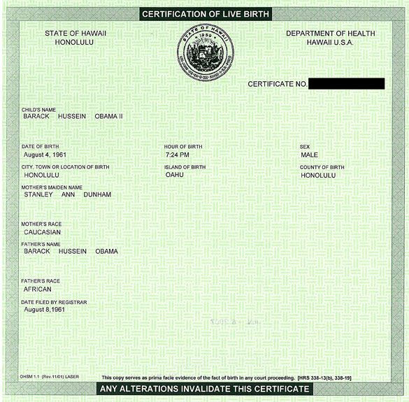 Barack Obama\'s Birth Certificate - Urban Legends