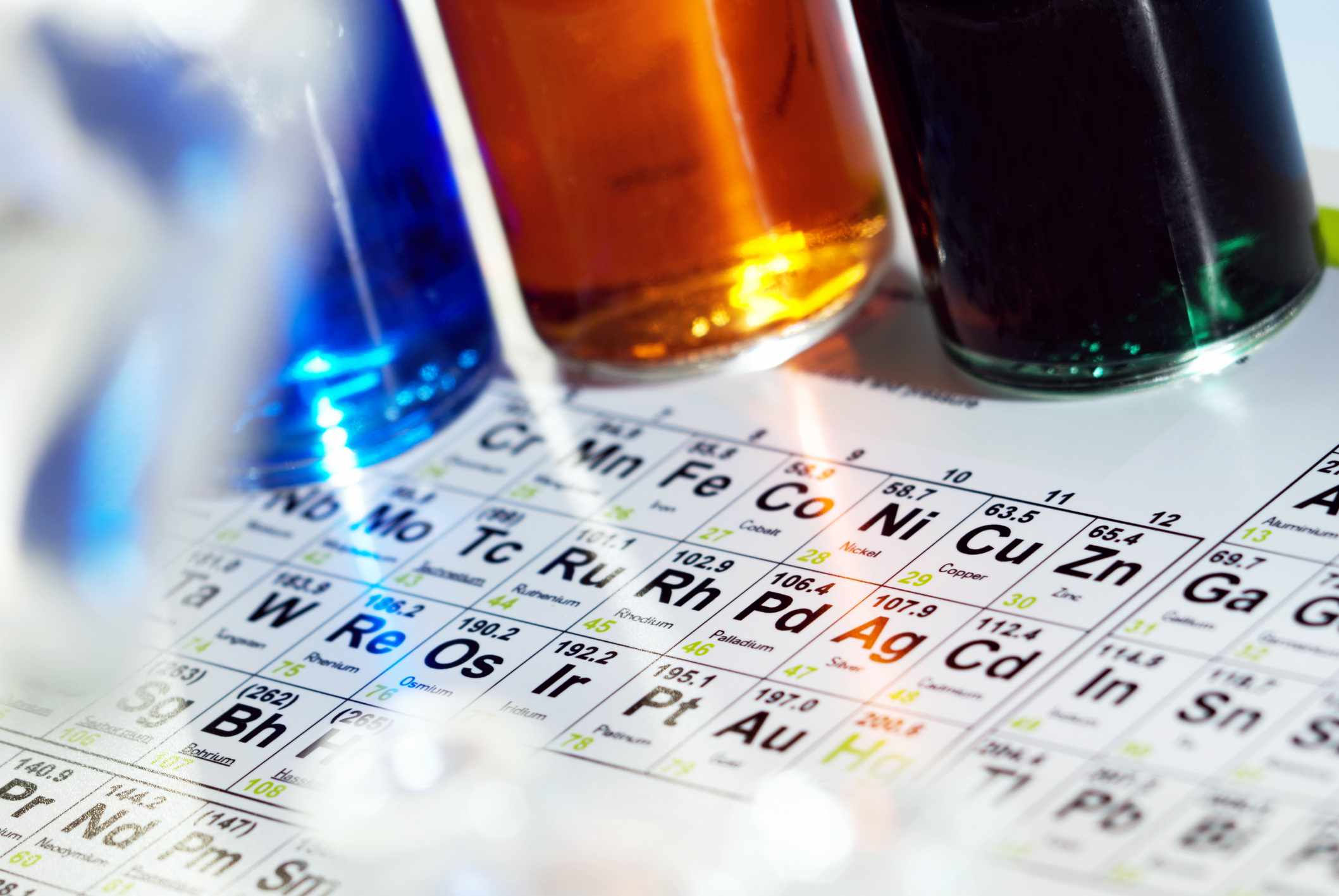 Periodic table and bottles of colored liquids