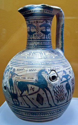 Late Geometric Period Oinochoe With Battle Scene. 750-725 B.C.