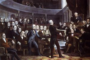 Painting of Henry Clay addressing the US Senate, circa 1830