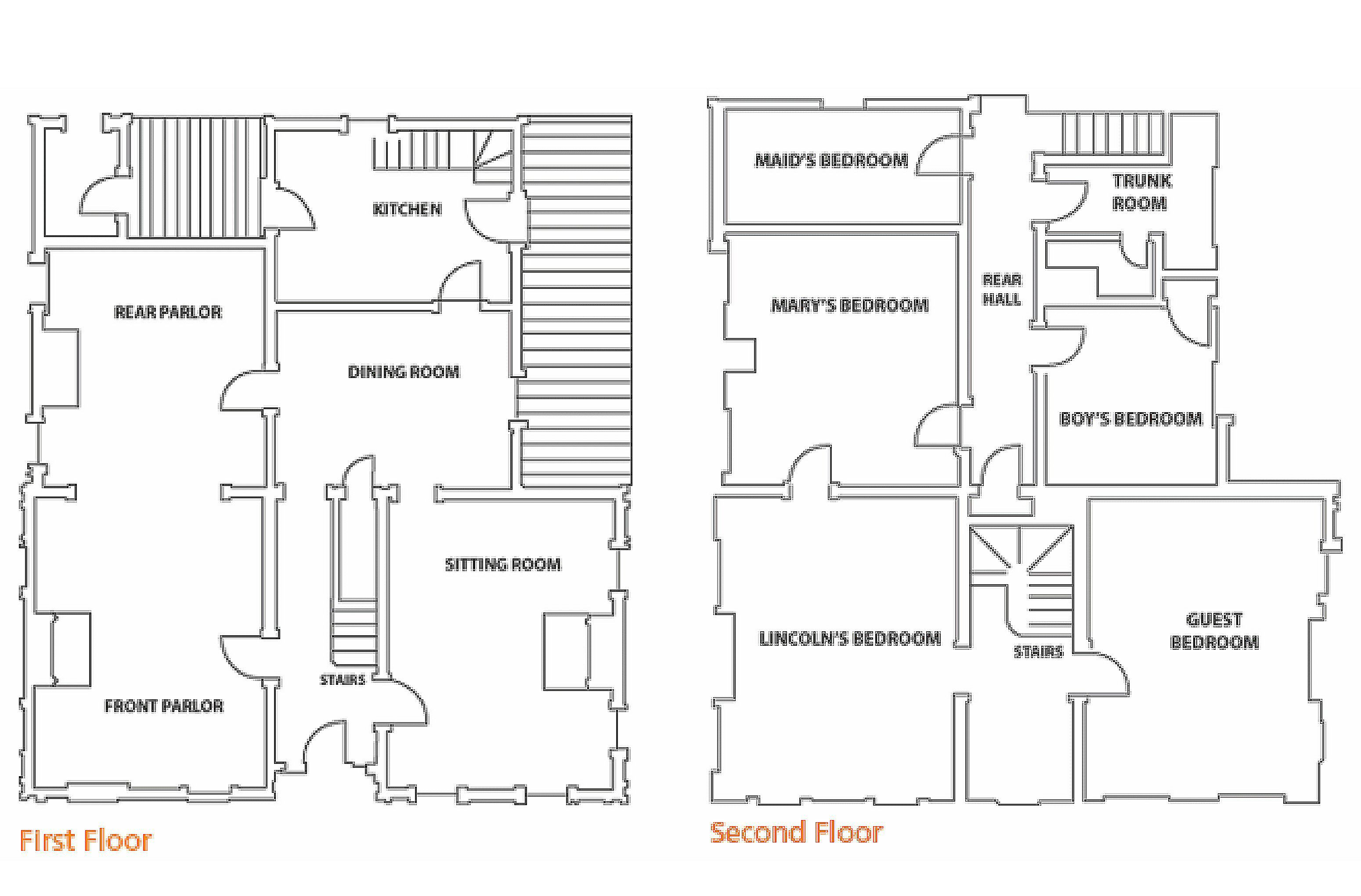 First and Second Floor Plans of Renovated Lincoln Home in Springfield, Illinois