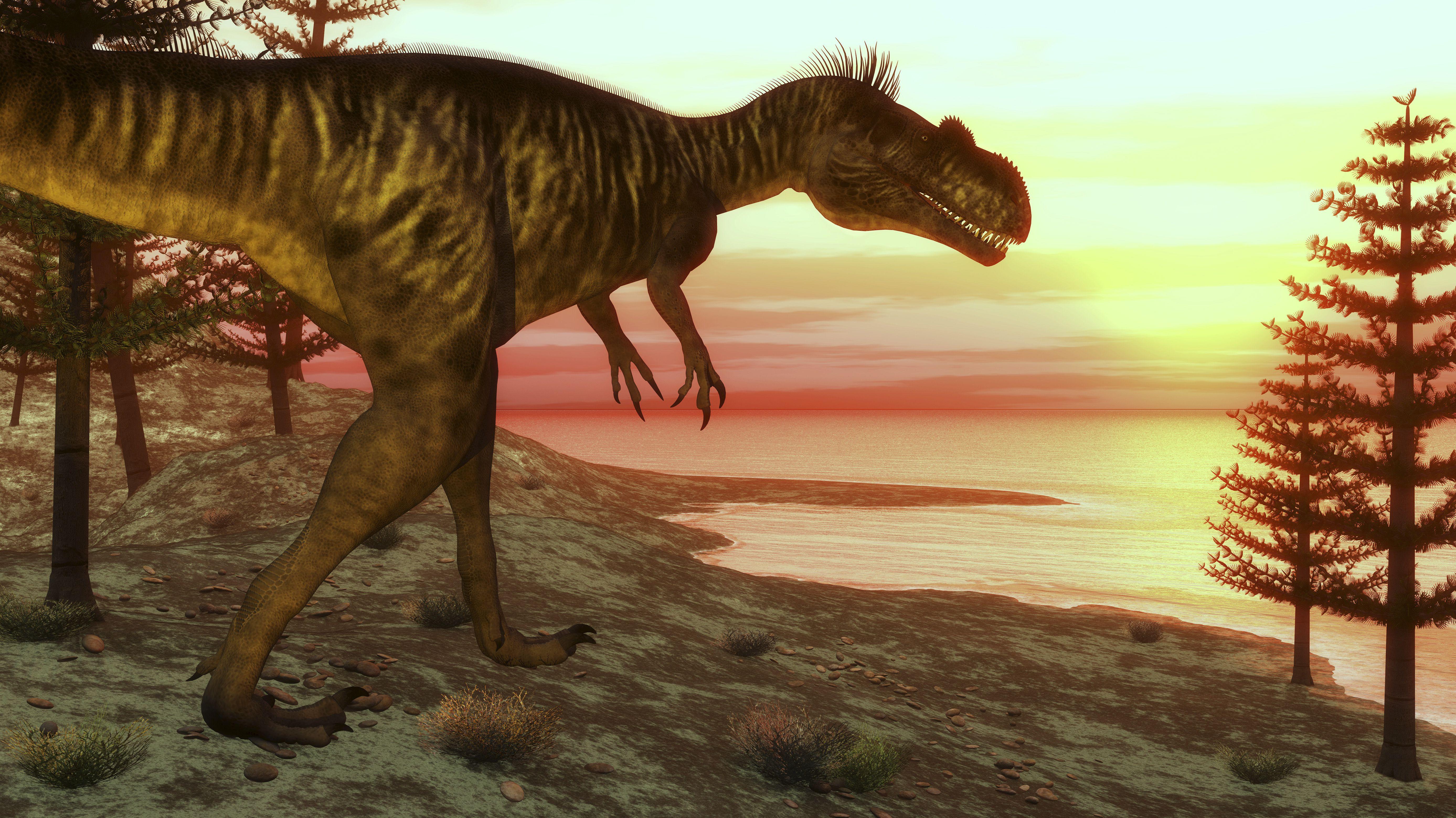 Megalosaurus dinosaur walking toward the ocean at sunset.
