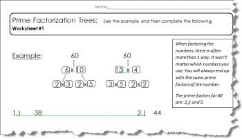 Prime Factor Tree Worksheet 1 of 5 (PDF and Answers)