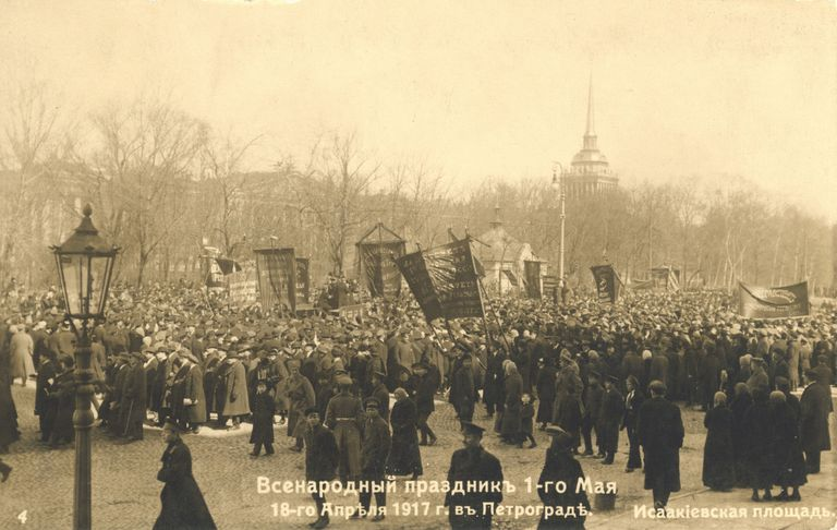 Marchers during the Russian Revolution