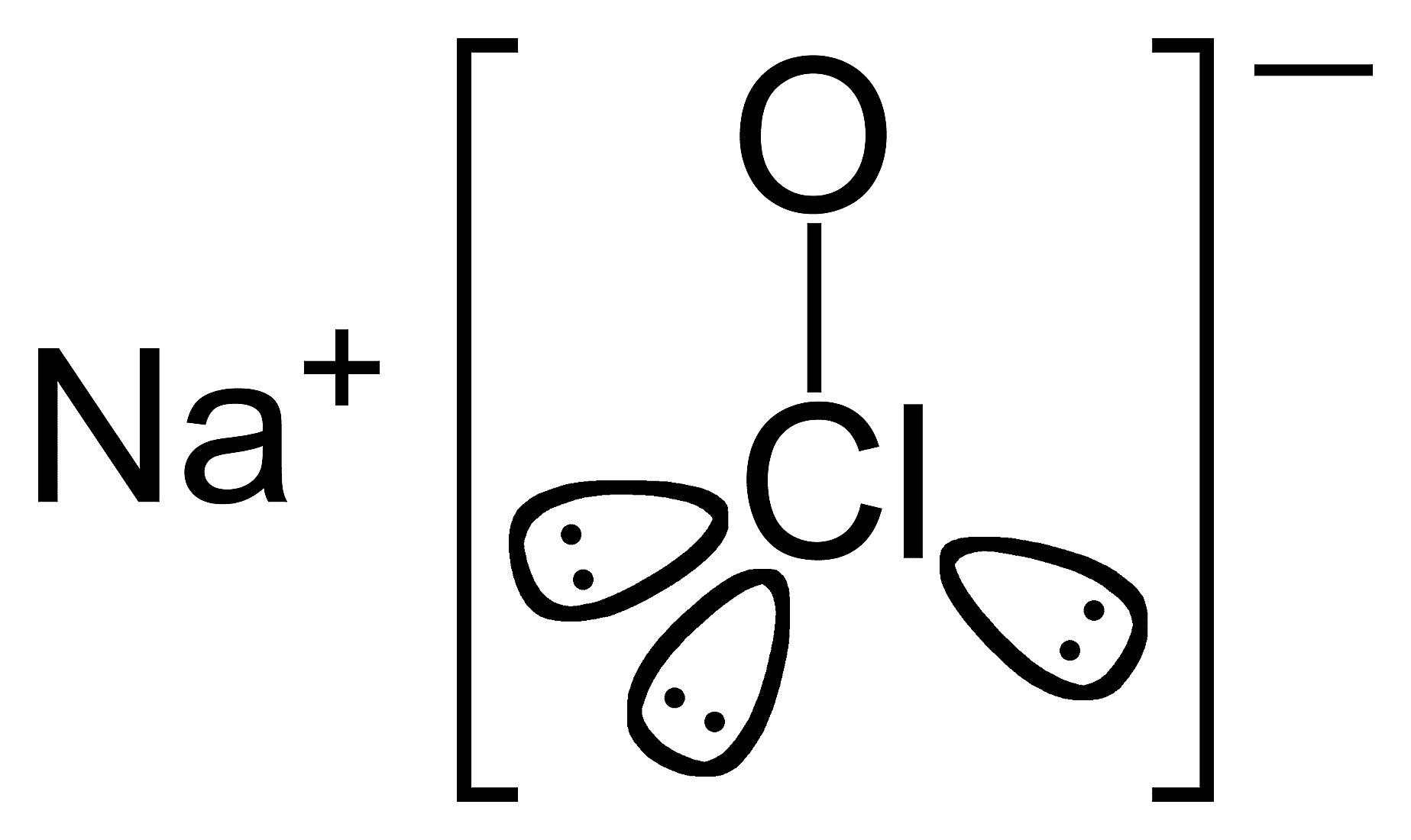 Esta es la estructura química del hipoclorito de sodio o lejía.