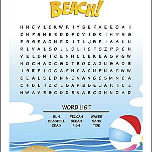 beach word search