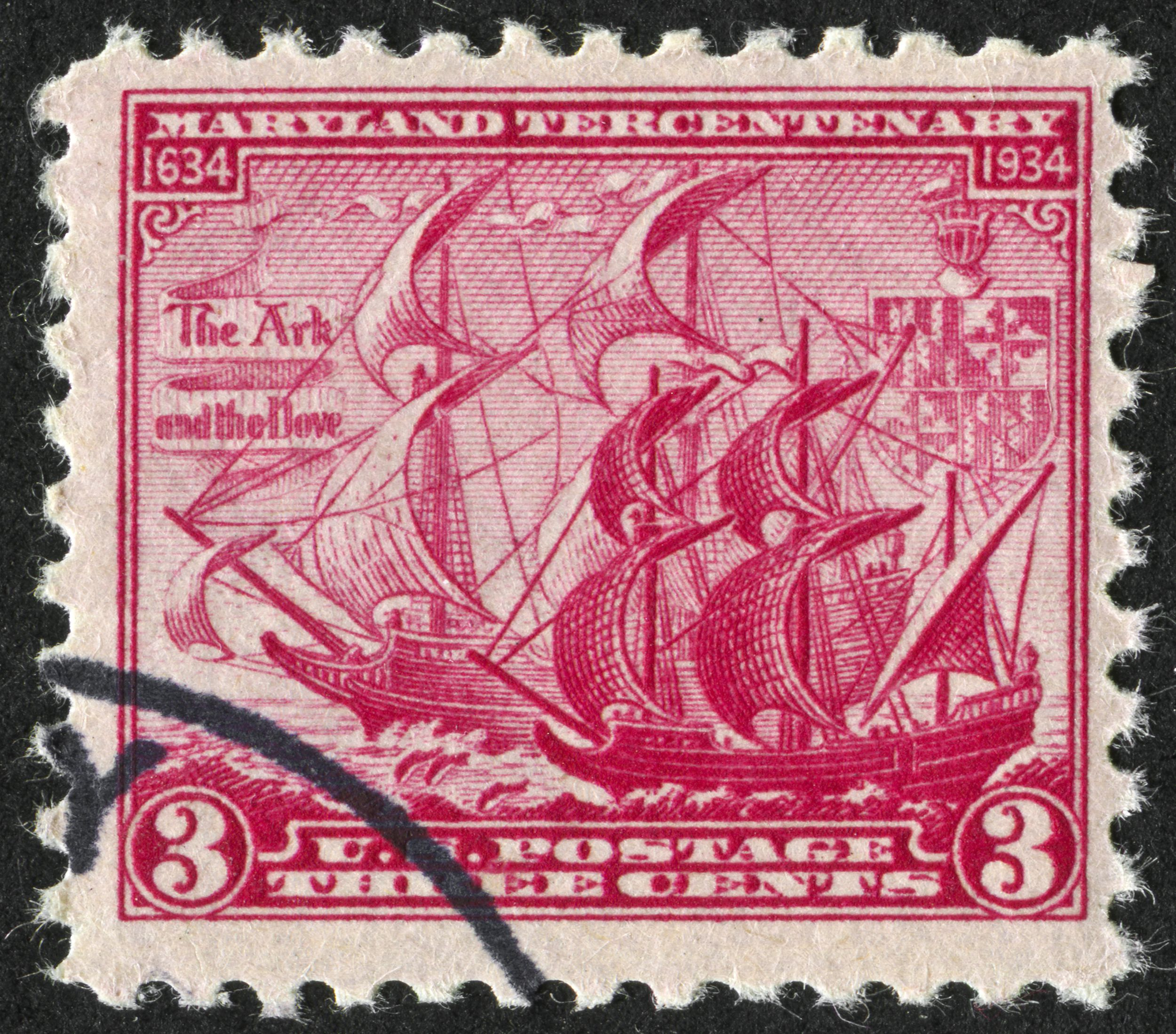 Cancelled Stamp From The United States Commemorating The 300th Anniversary Of Maryland, USA featuring the Ark and the Dove