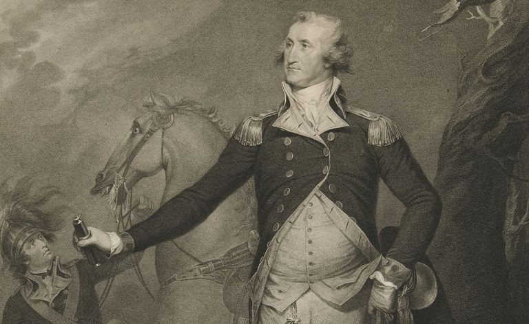 Pencil sketch of George Washington in military clothing with a horse in the background.