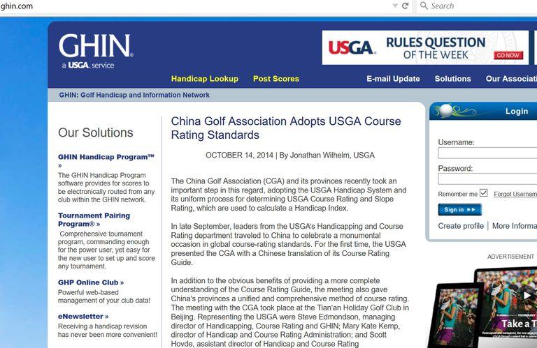 GHIN.com website homepage screenshot