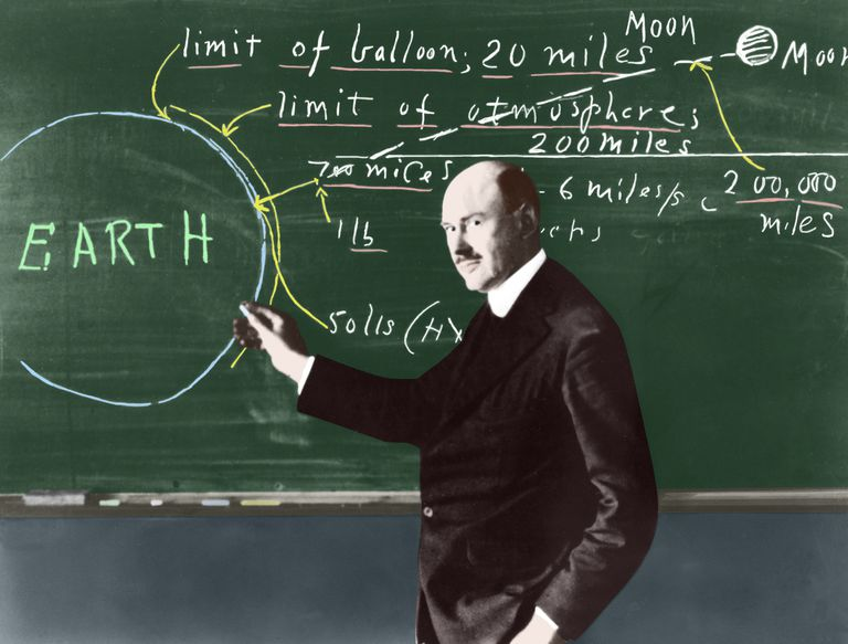 Dr. Robert H. Goddard at the blackboard at Clark University. Colorized image courtesy NASA and Clark University.