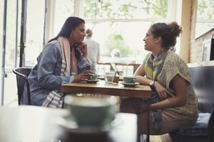 Women friends drinking coffee and talking at cafe table
