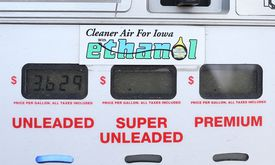 Gas pump showing prices for Iowa ethanol alternative fuel