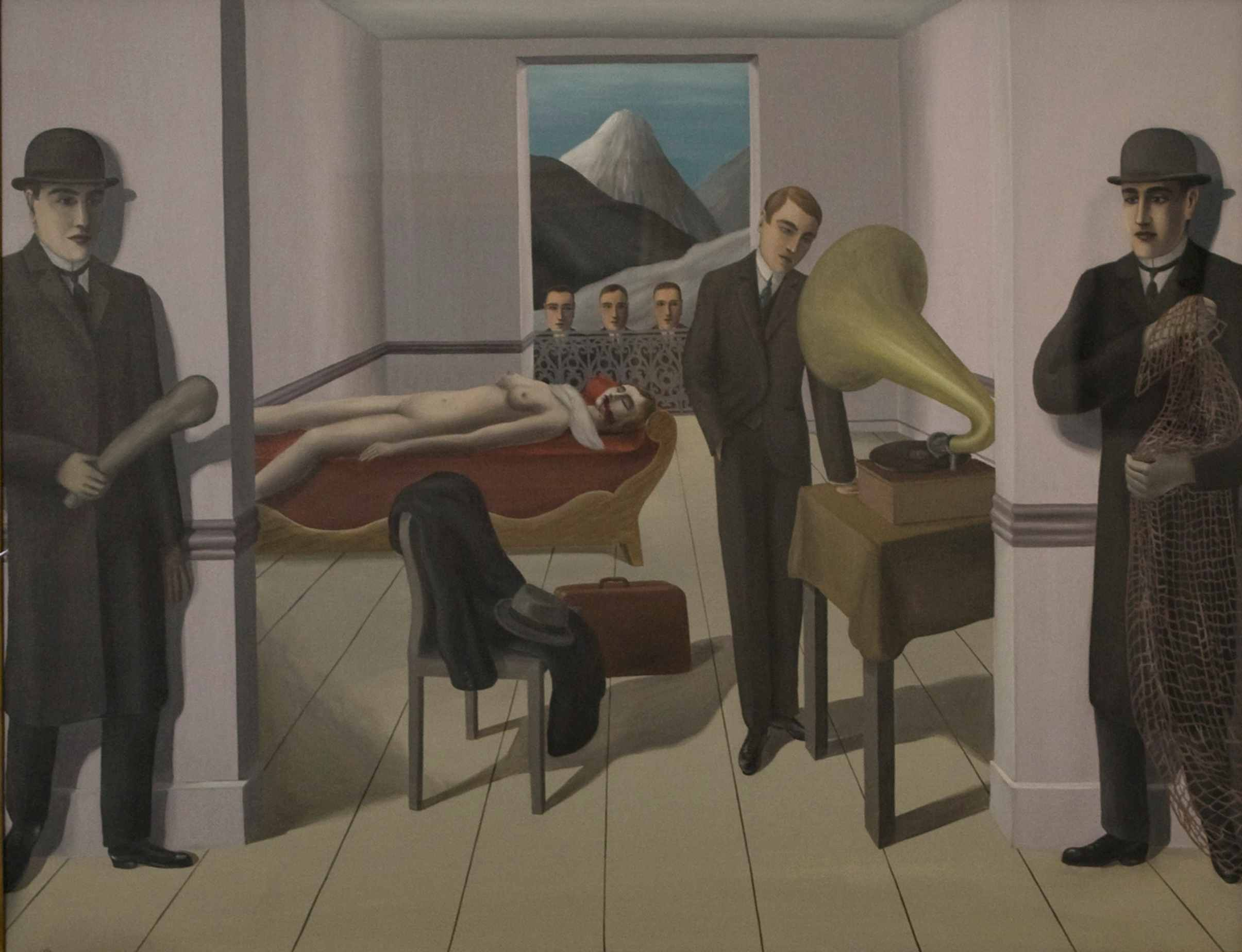 Placid men at a crime scene with a dead woman