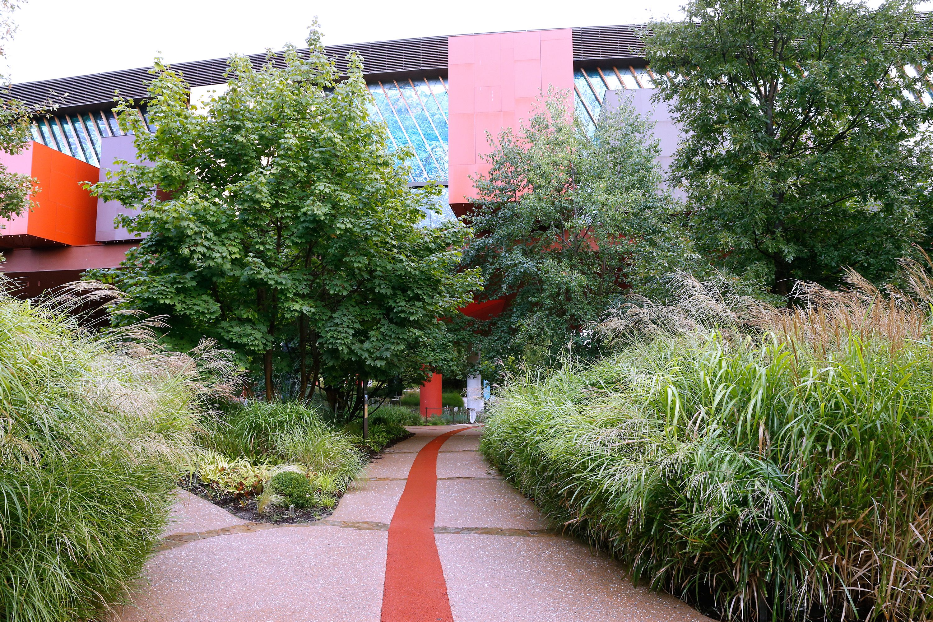 bright reds and yellow panels mix with glass exterior of building behind lush vegetation, a wide red line down a path toward the building