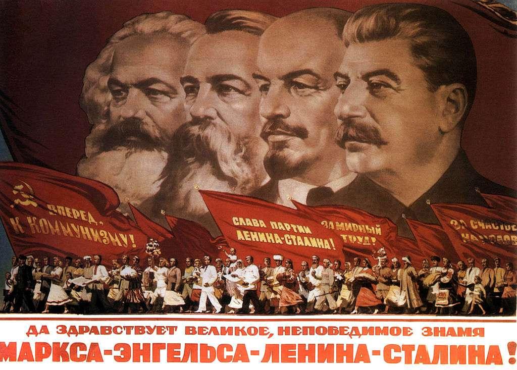Propaganda poster: Karl Marx, Friedrich Engels, Lenin and Stalin.