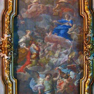 """Von Corrado Giaquinto aus dem Jahr 1744: """"Die Jungfrau präsentiert der Dreifaltigkeit die heilige Helena und Konstantin""""."""