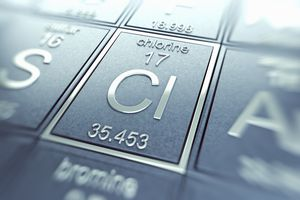 close up of chlorine on periodic table