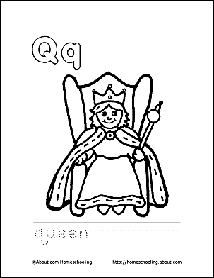 Queen Coloring Page Letter Q 2